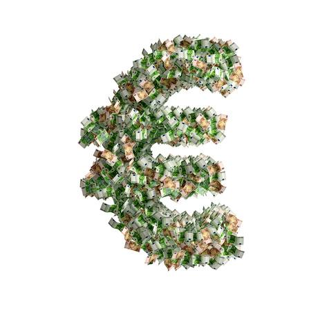 euro banknotes: Euro sign made from Euro banknotes