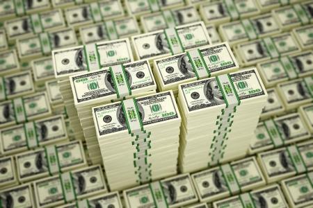 million dollars: Piles of Dollar bills