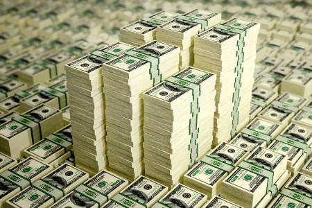 counterfeiting: Piles of Dollar bills