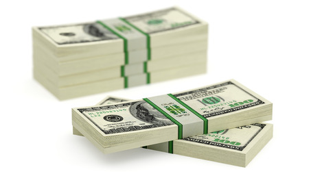 counterfeiting: Dollar Bills isolated on white background  Stock Photo