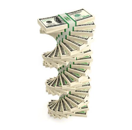 흰색 배경에 고립 달러 지폐