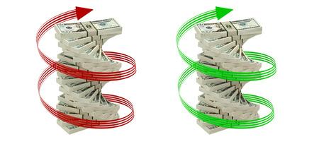 counterfeiting: 20 Dollar Bills isolated on white background  Stock Photo