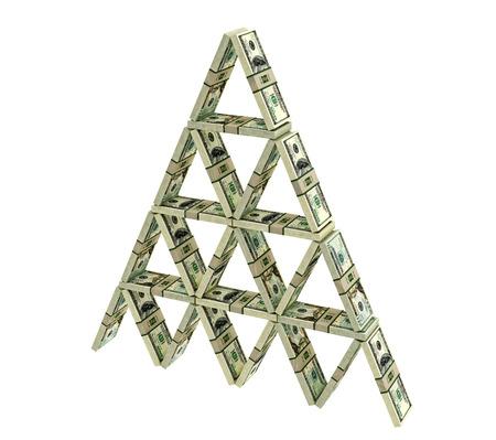 Kartenhaus von Dollar-Bündeln gebaut