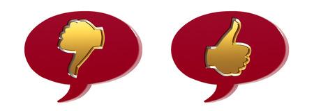 3D Speech bubbles - thumbs up   thumbs down  photo