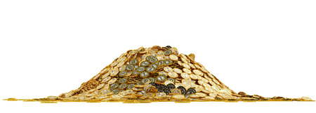 Big pile of golden coins - straight on frontal view