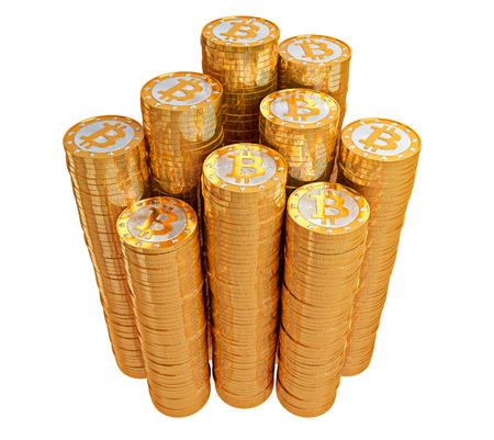 Bitcoins - isolated on white