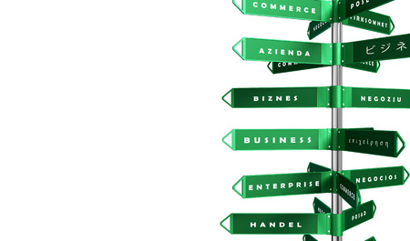 decision tree: Business - direction signs - different languages - isolated on white Stock Photo