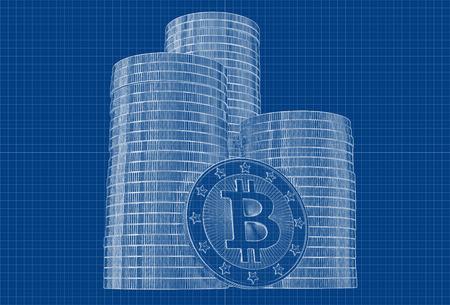 p2p: Bitcoin - Blueprint sketch Stock Photo