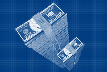 counterfeiting: Dollars - Blueprint sketch  Stock Photo