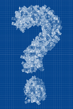 Question mark blueprint - made from Dollar bills photo