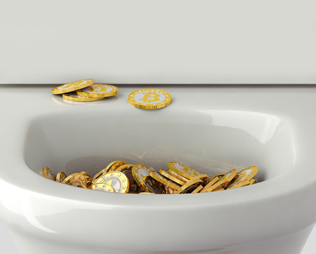 flushed: Bitcoins - flushed down the toilet Stock Photo