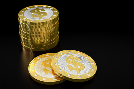 rewarding: Golden coins with Dollar symbol