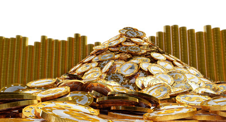 rewarding: Pile of golden Coins with Dollar symbol Stock Photo