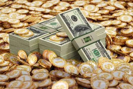 Dollars and golden Coins photo