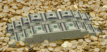 Golden coins and Dollars photo