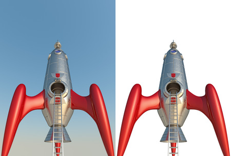 3D rendering of a comic style rocket  photo