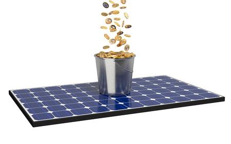 양동이와 동전의 전체 태양 전지 패널 스톡 콘텐츠