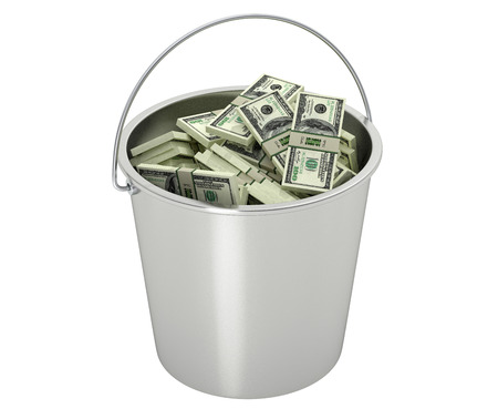 100 Dollar bills in a bucket - isolated on white