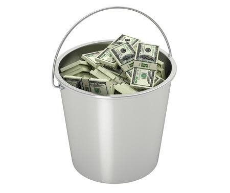 dollar bills: 100 fatture del dollaro in un secchio - isolato su bianco