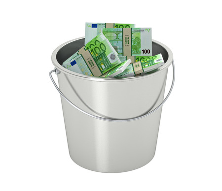 100 euro banknotes in a bucket - isolated on white