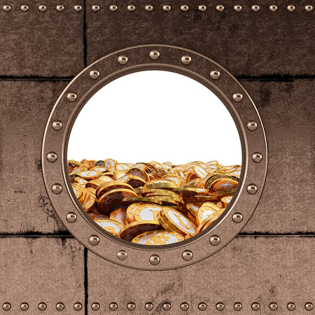 armour plating: porthole - safe - ocean of money Stock Photo