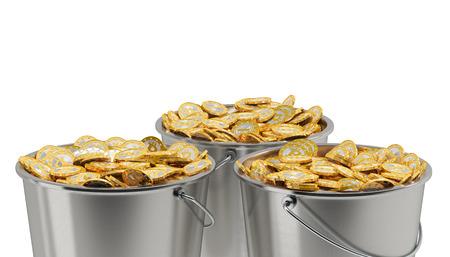 bucket of money: Bitcoins in a Bucket - isolated on white  Stock Photo