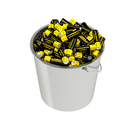 cell charger: Batteries in a bucket Stock Photo