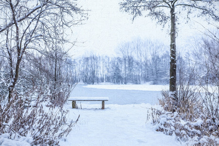 pont: Winter - Bench in the snow - painting Stock Photo