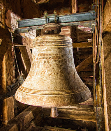 church bell: Church bell - oil painting