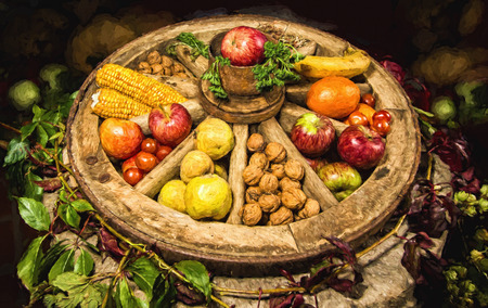 cartwheel: Erntedank - Thanksgiving in Germany - oil painting