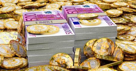 counterfeiting: Euro banknotes and golden Bitcoins