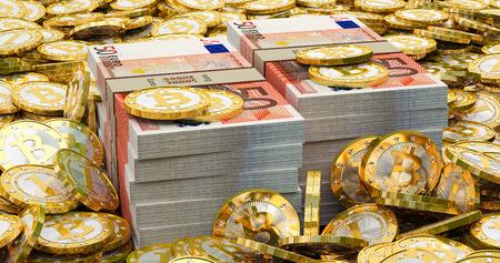 Euro banknotes and golden Bitcoins photo