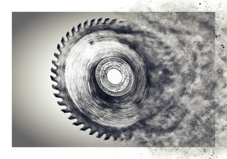Circular saw blade - with motion blur - disintegrating