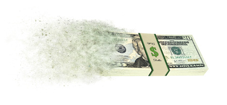 Dollar banknotes going up in smoke