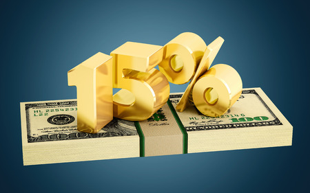 white interest rate: 15% - savings - discount - interest rate Stock Photo