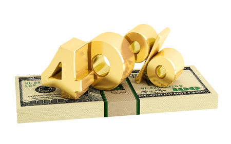 white interest rate: 40% - savings - discount - interest rate - isolated on white Stock Photo