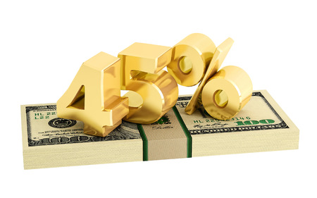 white interest rate: 45% - savings - discount - interest rate - isolated on white Stock Photo