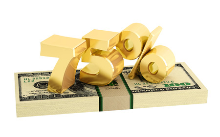 white interest rate: 75% - savings - discount - interest rate - isolated on white Stock Photo