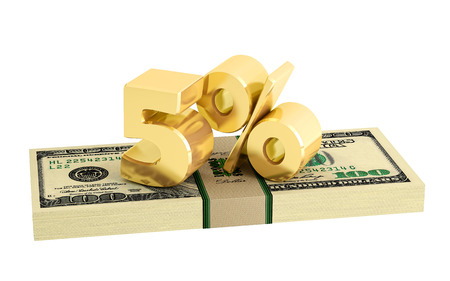 interest rate: 5% - savings - discount - interest rate - isolated on Stock Photo