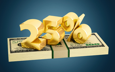 interest rate: 25% - savings - discount - interest rate Stock Photo