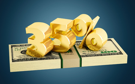 interest rate: 35% - savings - discount - interest rate Stock Photo