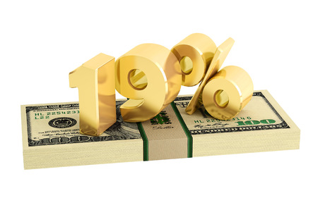 white interest rate: 19% - savings - discount - interest rate - isolated on white Stock Photo