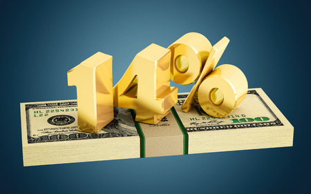 interest rate: 14% - savings - discount - interest rate Stock Photo