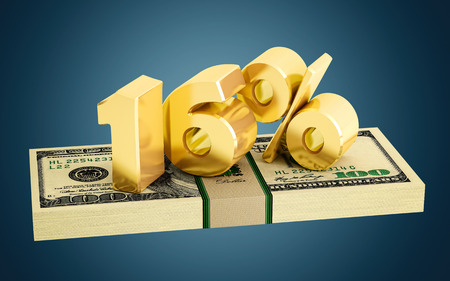 interest rate: 16% - savings - discount - interest rate Stock Photo