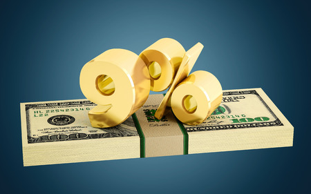 interest rate: 9% savings discount interest rate Stock Photo
