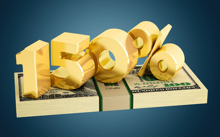 interest rate: 150% - savings - discount - interest rate Stock Photo