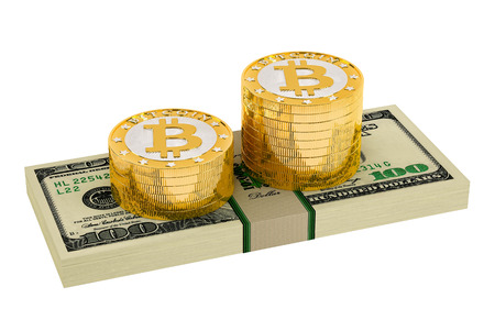 p2p: Bitcoins and Dollars - isolated on white