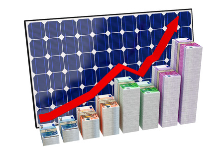 Solar Panel - Bar graphs made from Euro banknotes