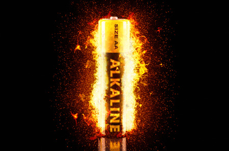 alkaline: Alkaline Battery on Fire