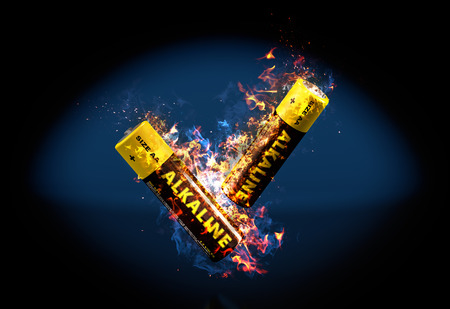 recycle waste: Alkaline Battery on Fire